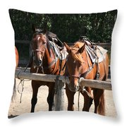 Horses Glacier National Park Montana Throw Pillow
