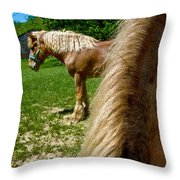 Horses In Meadow Throw Pillow