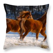 Horses In Motion Throw Pillow