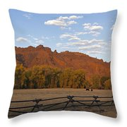 Horses In North Fork Canyon   #4106 Throw Pillow