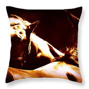 Horses In The Afternoon Throw Pillow