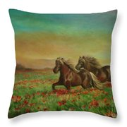 Horses In The Field With Poppies Throw Pillow