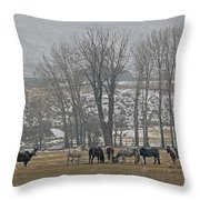 Horses In The Snow   #7940 Throw Pillow