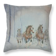 Horses In The Snow Throw Pillow by Paula Marsh