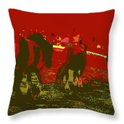 Horses In The Spanish Pyrenees Throw Pillow
