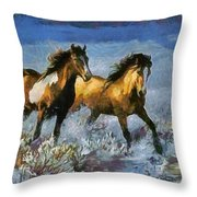 Horses In Water Throw Pillow