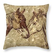 Horses On Marble Throw Pillow
