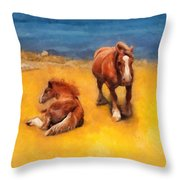 Horses On The Coast Of Brittany Throw Pillow