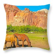 Horses On The Gifford Farm In Fruita In Capitol Reef National Park-utah Throw Pillow