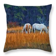 Horses On The March Throw Pillow