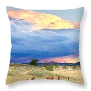 Horses On The Storm 2 Throw Pillow