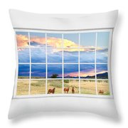 Horses On The Storm Large White Picture Window Frame View Throw Pillow
