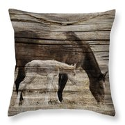 Horses On Wood Throw Pillow