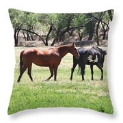 Horses Out Wickenburg Way Throw Pillow