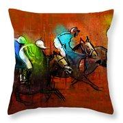 Horses Racing 01 Throw Pillow