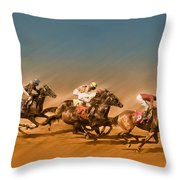 Horses Racing To The Finish Line Throw Pillow