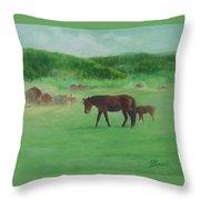 Horses Rural Pasture Western Landscape Original Oil Colorful Art Oregon Artist K. Joann Russell Throw Pillow