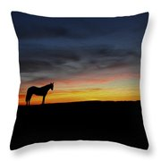 Horses Walking In The Sunset Throw Pillow