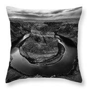 Horseshoe Bend Arizona Monochrome Throw Pillow