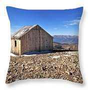 Horseshoe Mountain Mining Shack Throw Pillow by Aaron Spong