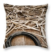 Horseshoe On Barn Floor Throw Pillow