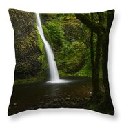 Horsetail Falls Columbia River Gorge Throw Pillow
