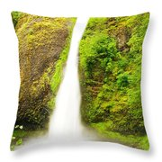 Horsetail Falls In The Spring Throw Pillow