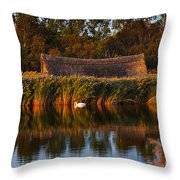 Horsey Mere On The Norfolk Broads On A Still Day In Autumn Throw Pillow