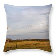Horsey Windmill In Autumn Throw Pillow