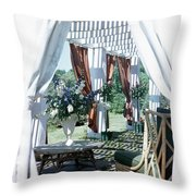 Horst's Patio In Long Island Throw Pillow