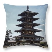 Horyu-ji Temple Pagoda - Nara Japan Throw Pillow by Daniel Hagerman
