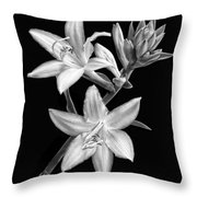 Hosta Flowers In Black And White Throw Pillow