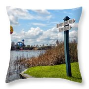 Hot Air Balloon And Old Key West Port Orleans Signage Disney World Throw Pillow