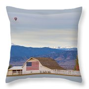 Hot Air Balloon Boulder Flag Barn And Eldora  Throw Pillow