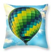 Hot Air Balloon Checkerboard Throw Pillow