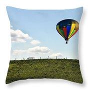 Hot Air Balloon In The Farmlands Throw Pillow