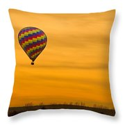 Hot Air Balloon In The Golden Sky Throw Pillow