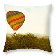 Hot Air Balloon In The Lush Arizona Desert With Saguaro Cactus Throw Pillow