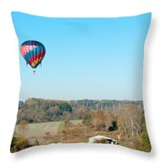 Hot Air Balloon Over Farm Land Throw Pillow
