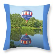 Hot Air Balloon Reflection Throw Pillow