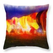 Hot Air Balloons Night Glow Photo Art 01 Throw Pillow