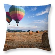 Hot Air Balloons Over Hay Bales Sunset Landscape Throw Pillow