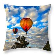 Hot Air Balloons Over Trees Throw Pillow