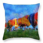 Hot Air Balloons Photo Art 01 Throw Pillow