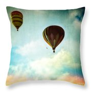 Hot Air Baloons In Blazing Sky Throw Pillow