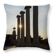 Hot Barcelona Afternoon - Magnificent Columns And Brilliant Sun Flares Throw Pillow