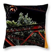 Hot Bridge At Night Throw Pillow