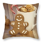 Hot Cocoa And Gingerbread Cookie Throw Pillow by Juli Scalzi