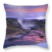 Hot Creek At Sunset Sierra Nevada Throw Pillow
