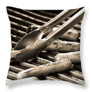 Hot Dogs On The Grill Throw Pillow